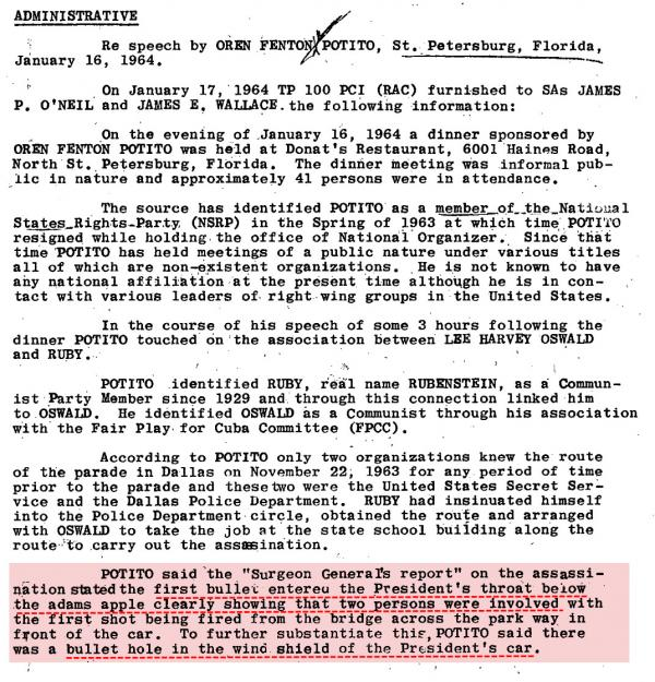 JFK From Jan 31st 1964 FBI memo