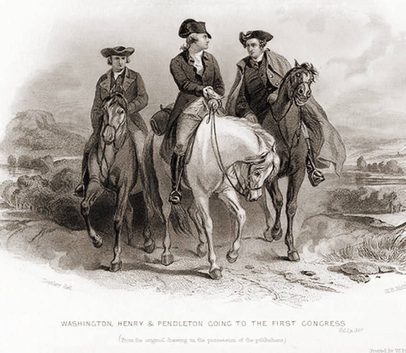 Founders Washington, Henry and Pendleton Travel to the First Congress