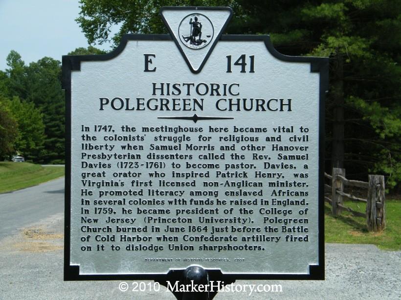 Virginia Orator and Educator Samuel Davies Historic Polegreen Church